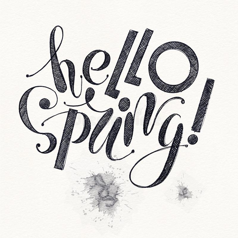 Fhrase `Hello spring!` Drawing ink isolated on background vector illustration