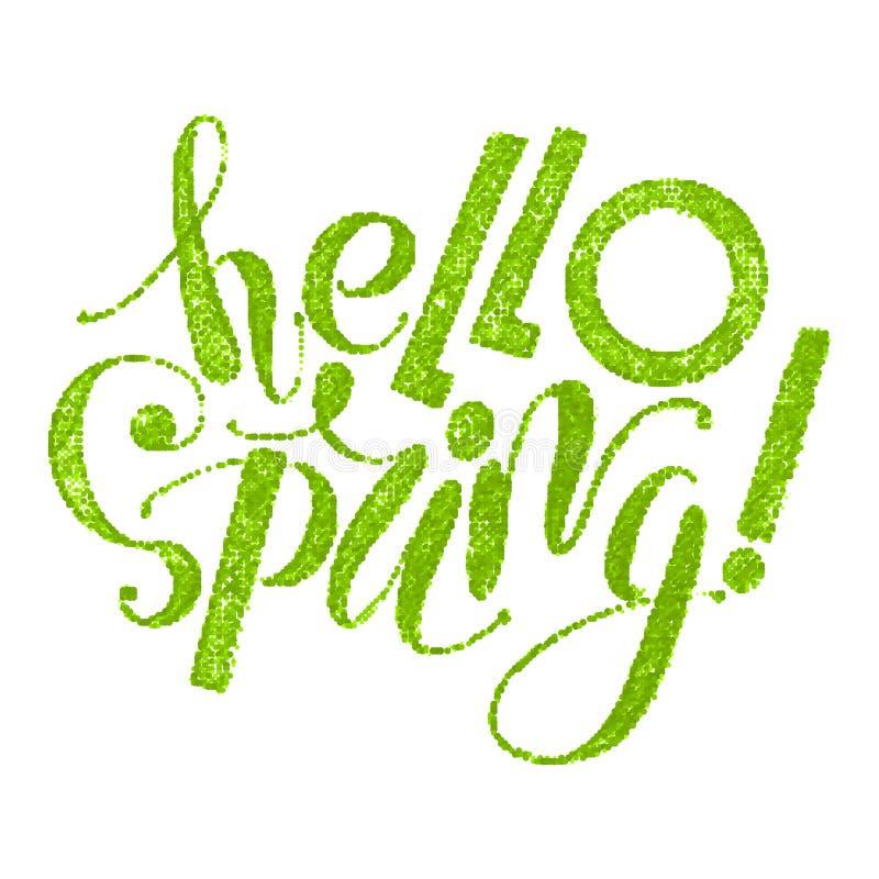 Fhrase `Hello spring!` isolated on white background vector illustration