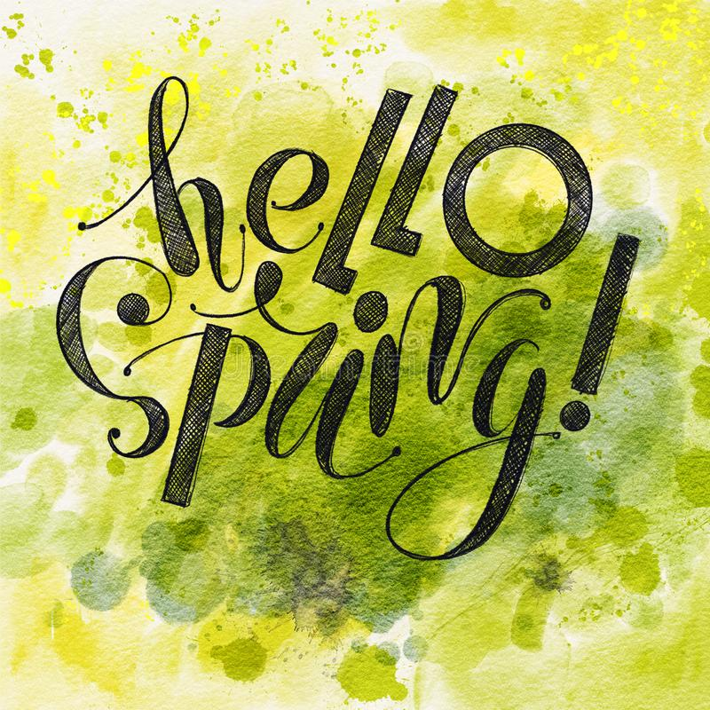 Fhrase `Hello spring!` Lettering isolated on green watercolor background stock illustration