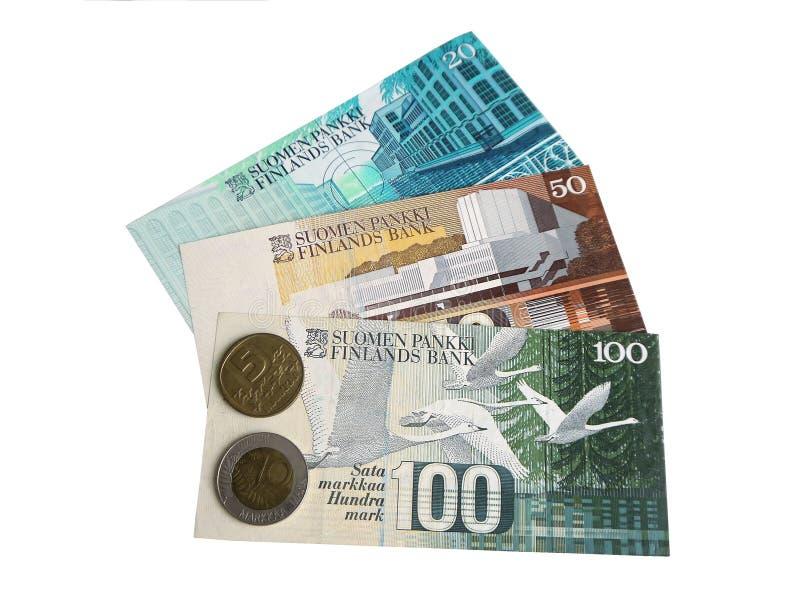 Fińscy banknoty i monety w cyrkulacji przed euro fotografia stock