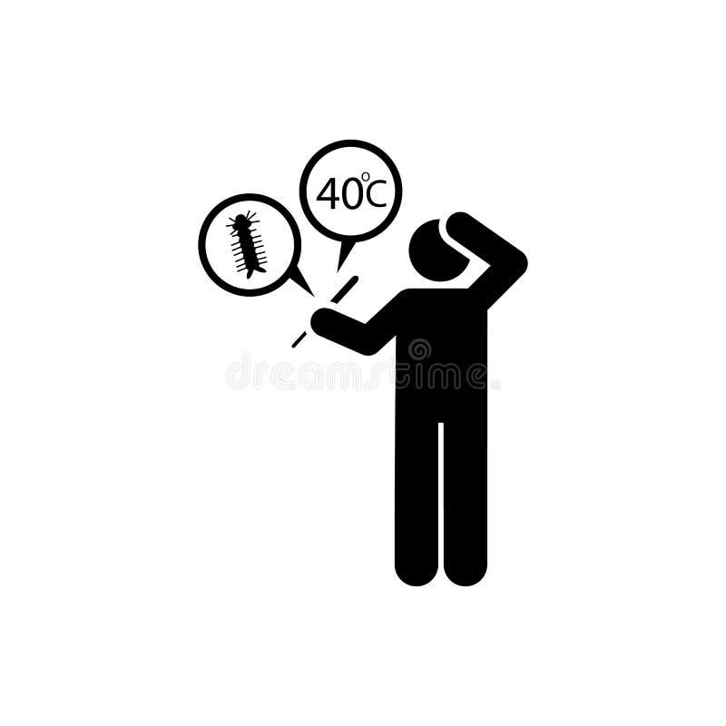 Fièvre, malade, en difficulté, icône de la température ?l?ment d'aedes moustique et d'ic?ne de dengue Ic?ne de la meilleure quali illustration de vecteur
