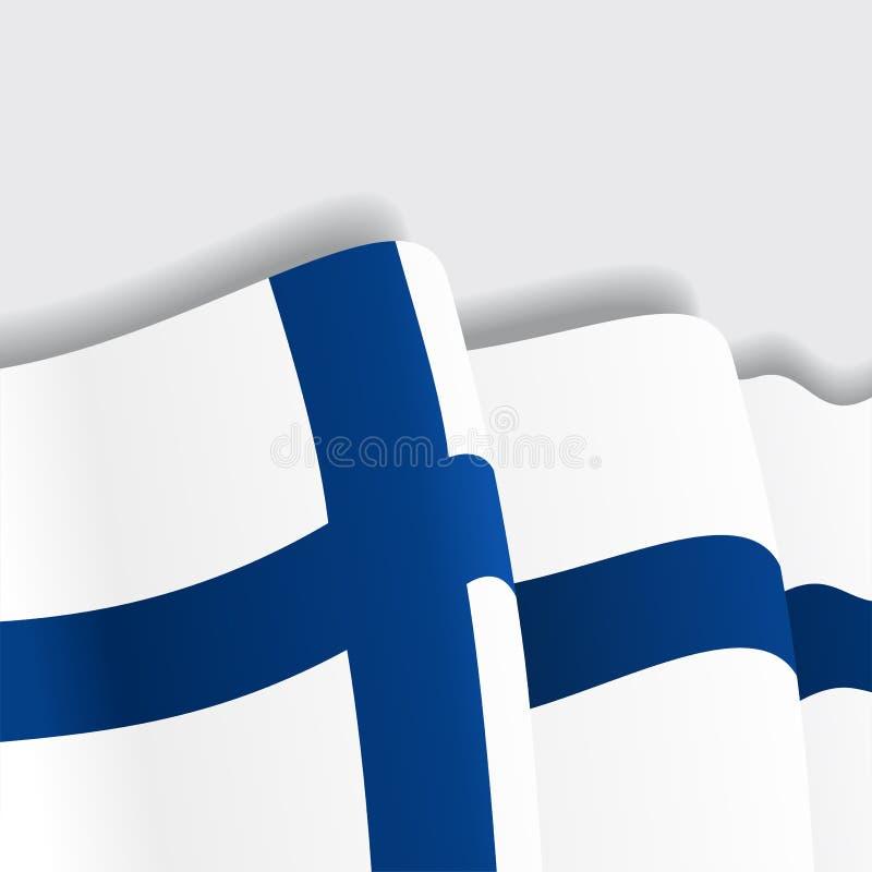 Fińska falowanie flaga również zwrócić corel ilustracji wektora ilustracja wektor
