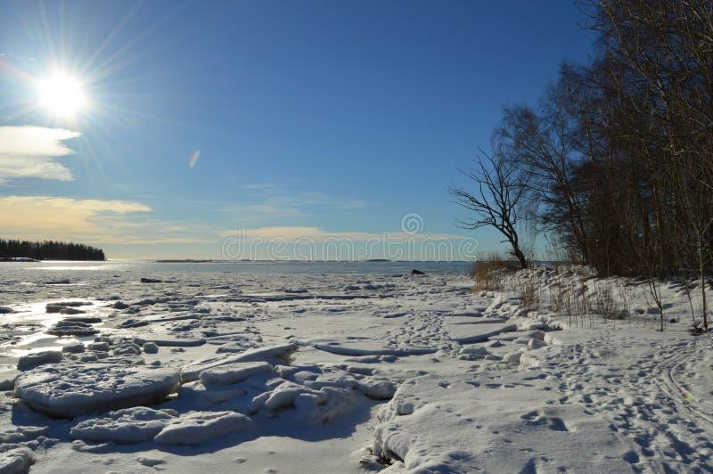 Fińska zima, Lauttasaari zdjęcie royalty free