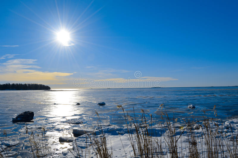 Fińska zima, Lauttasaari zdjęcie stock