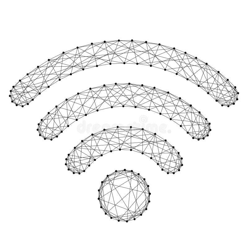 Fi ikona dla bezprzewodowego interneta sygnału radia od abstrakcjonistycznego futu ilustracja wektor