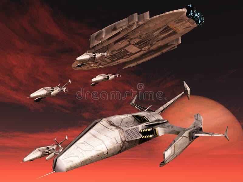 fi sci statek kosmiczny ilustracja wektor