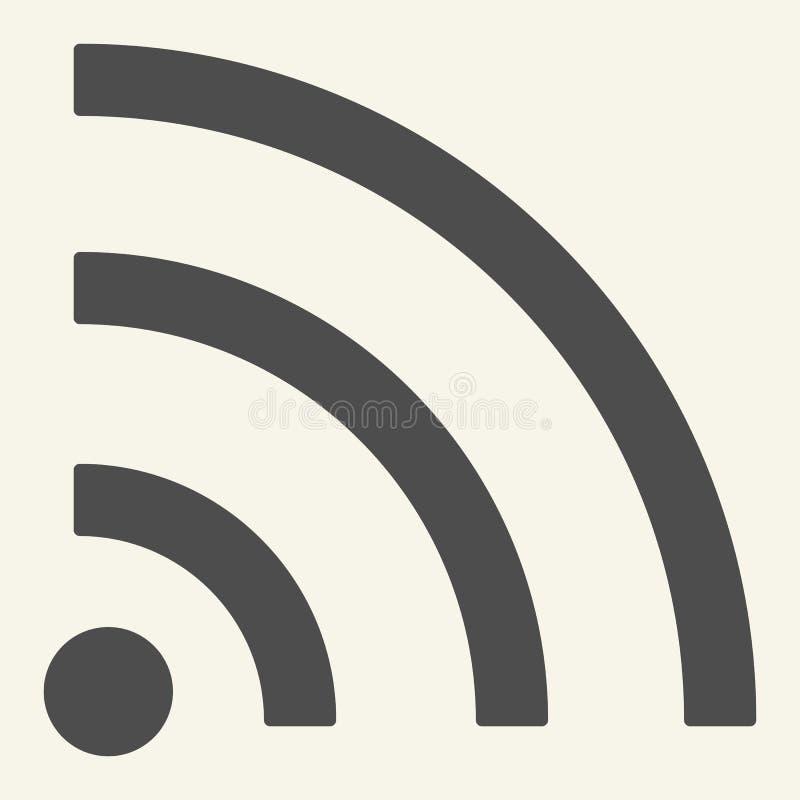Fi sygnału bryły ikona Internetowa wektorowa ilustracja odizolowywająca na bielu Sieć bezprzewodowa glifu stylu projekt, projektu royalty ilustracja