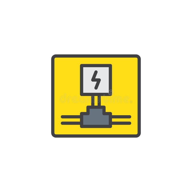 Fiação elétrica ícone enchido do esboço ilustração stock