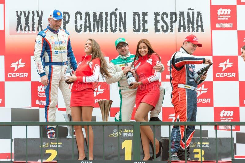 2015 FIA欧洲卡车赛跑的冠军 有约亨的指挥台 免版税库存照片
