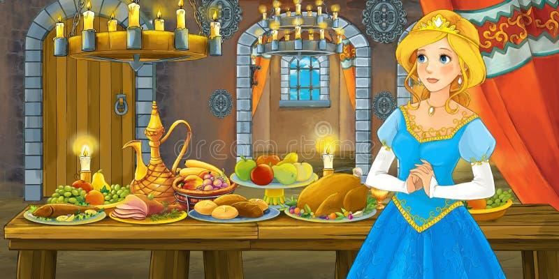 Fiaba del fumetto con principessa nel castello dalla tavola in pieno di alimento che guarda e che sorride illustrazione vettoriale