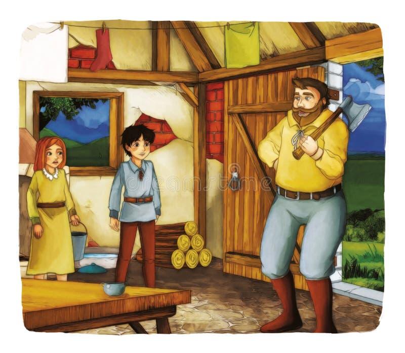 Fiaba del fumetto - illustrazione per i bambini illustrazione di stock