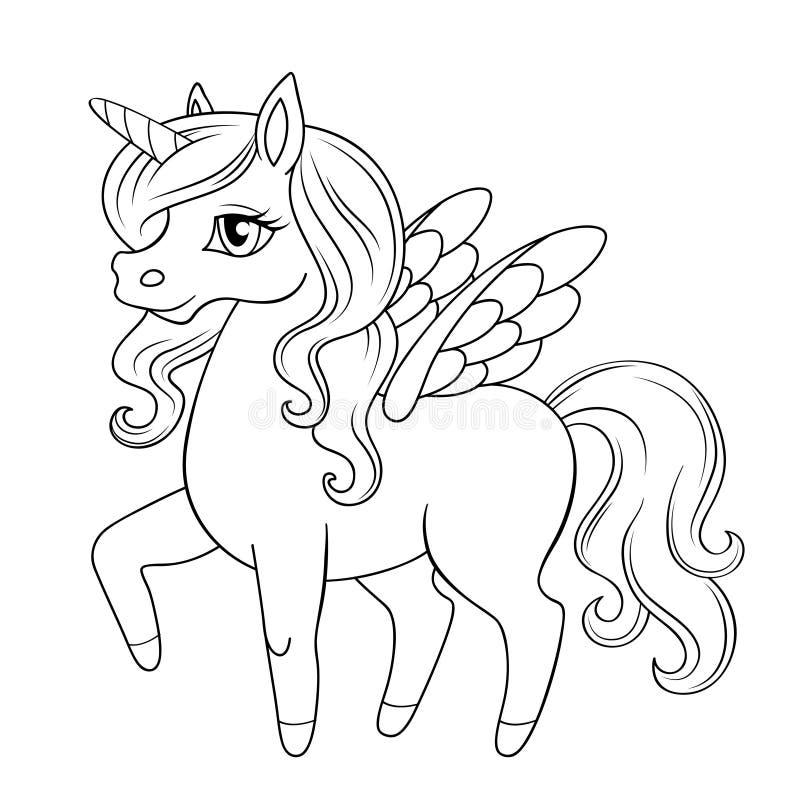 Fiaba Pegaso Principessa del cavallino unicorn Illustrazione in bianco e nero di vettore per il libro da colorare royalty illustrazione gratis