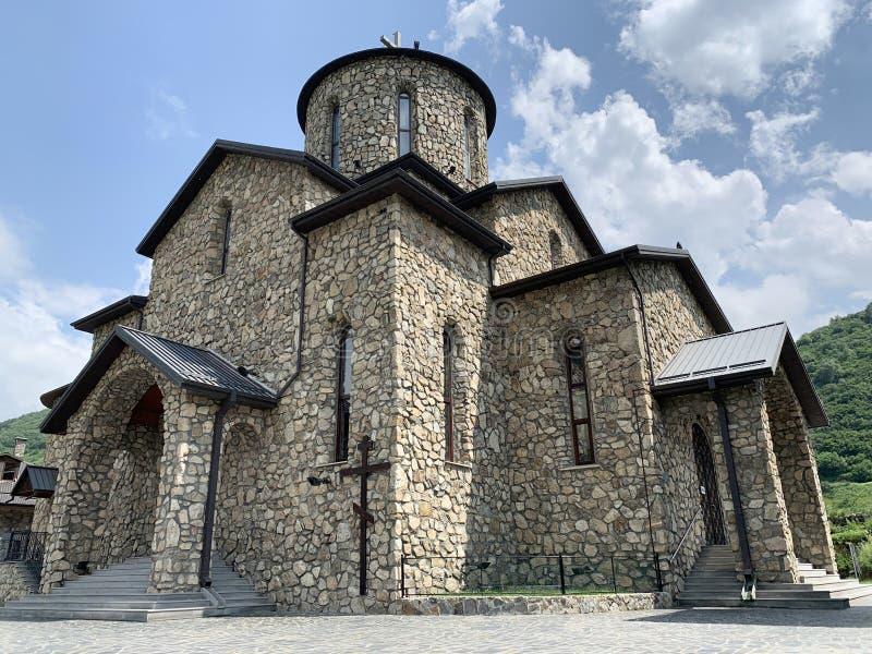 Fiagdon,俄罗斯,北奥塞梯共和国 Khidikus 阿伦dormition男性修道院 母亲的利比亚莫兹多克象的大教堂  免版税库存图片
