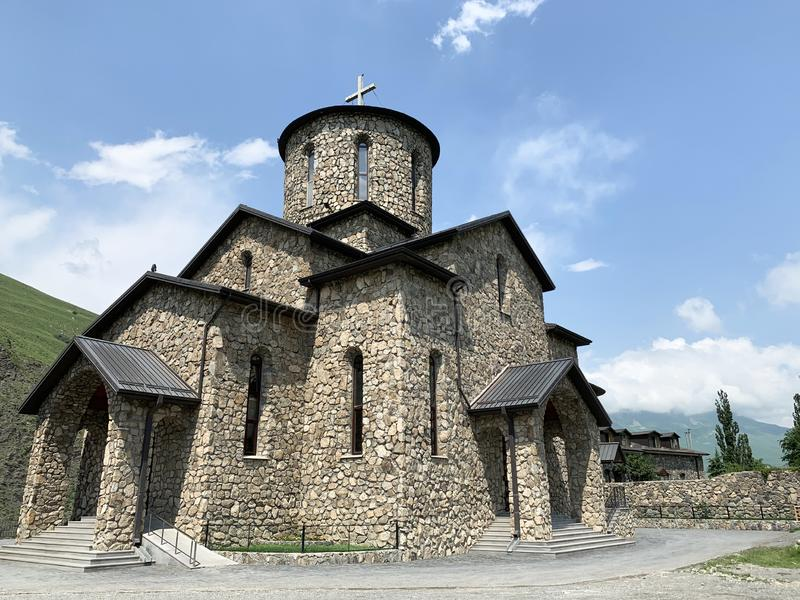 Fiagdon, Russia, North Ossetia. Khidikus.  Alan dormition male monastery. Cathedral of the Iberian Mozdok icon of the mother of. God stock photos