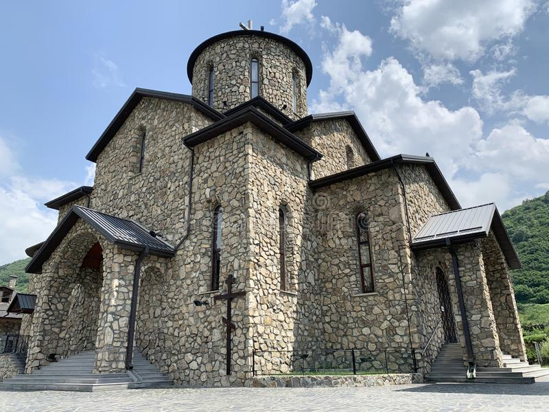 Fiagdon, Russia, North Ossetia. Khidikus.  Alan dormition male monastery. Cathedral of the Iberian Mozdok icon of the mother of. God royalty free stock image