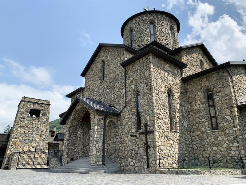 Fiagdon, Russia, North Ossetia. Khidikus.  Alan dormition male monastery. Cathedral of the Iberian Mozdok icon of the mother of. God stock photo