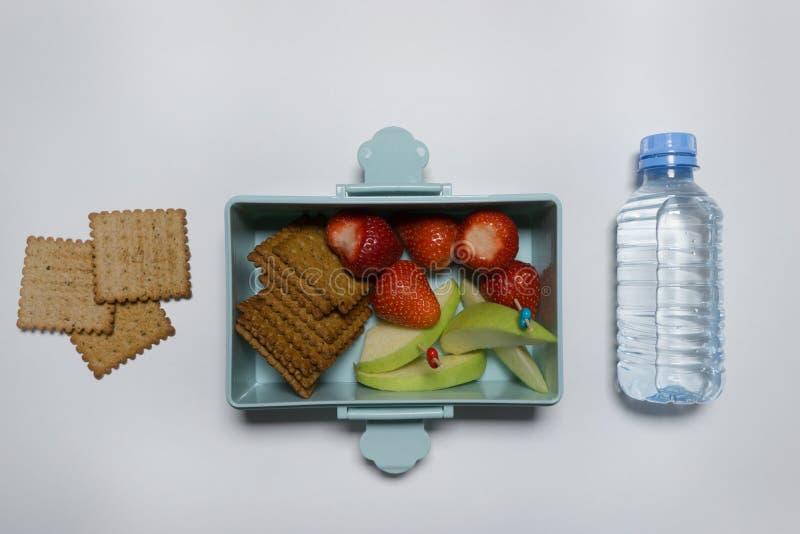Fiambrera abierta con las bayas del pl?tano y galletas y una botella de agua en un fondo blanco fotos de archivo