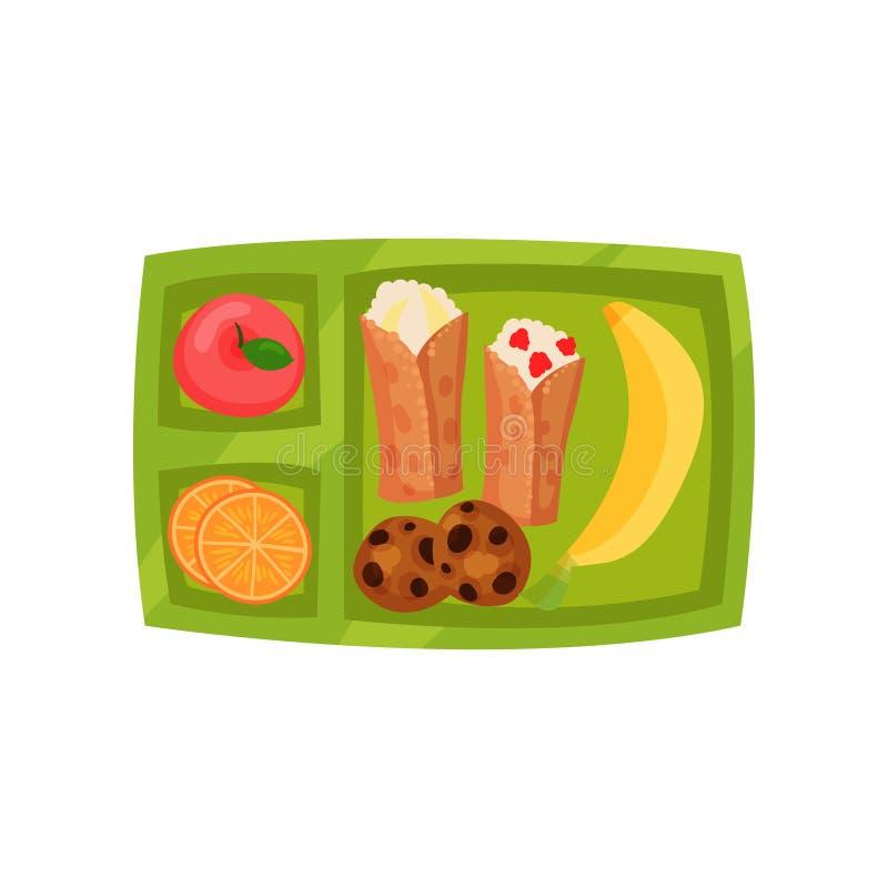 Fiambrera plástica con el plátano fresco, la manzana, las rebanadas de naranja, los pedazos de las galletas y las crepes Tema del ilustración del vector
