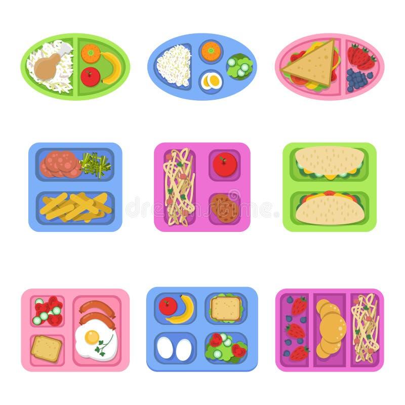 Fiambreras Los envases de comida con los pescados, comida eggs el bocadillo cortado de las legumbres de frutas frescas para el ve stock de ilustración
