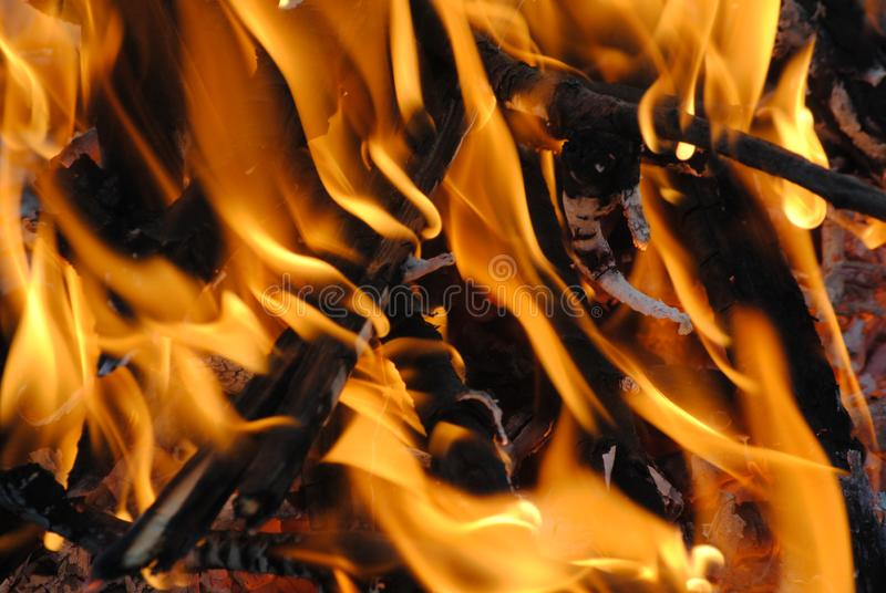 Fiamma arancio luminosa di fuoco immagine stock libera da diritti