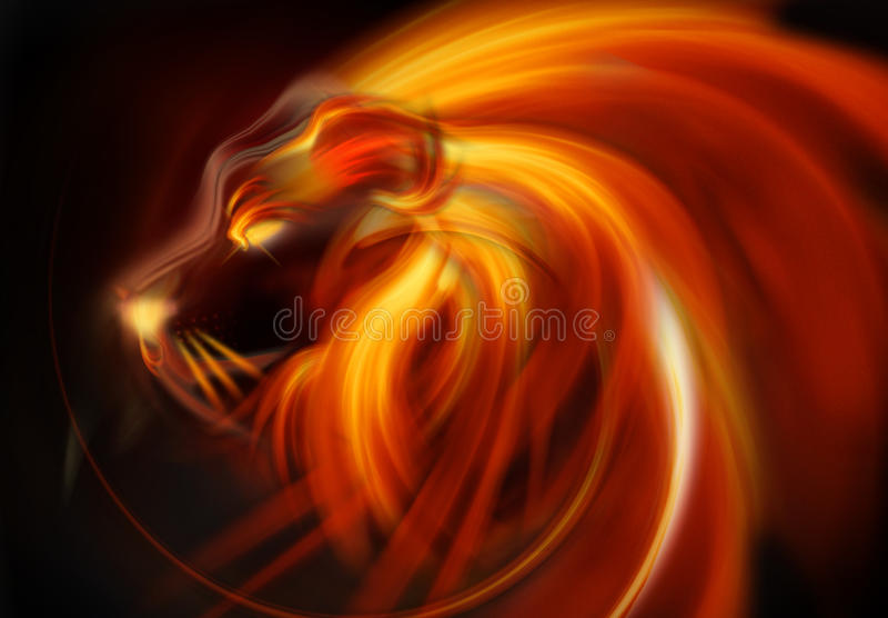 Fiamma astratta della testa del leone royalty illustrazione gratis