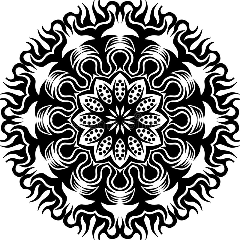 Fiamma in bianco e nero e fiore circolari astratti del sole di vettore mandalapattern illustrazione di stock