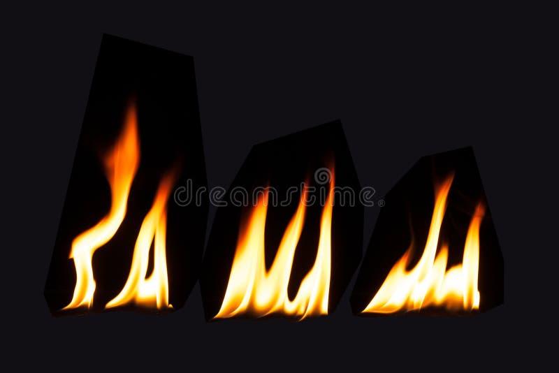Fiamma bruciante del fuoco su fondo nero fotografia stock