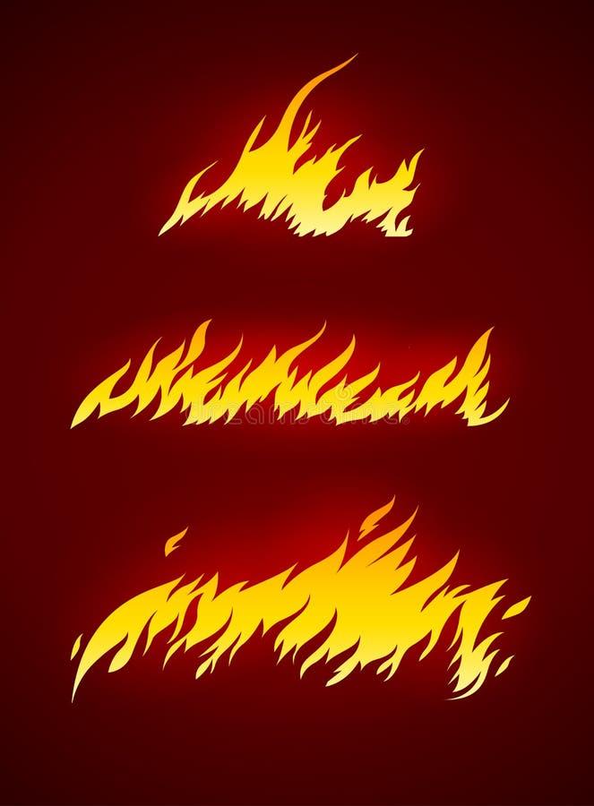 Fiamma bruciante della siluetta di vettore del fuoco illustrazione vettoriale