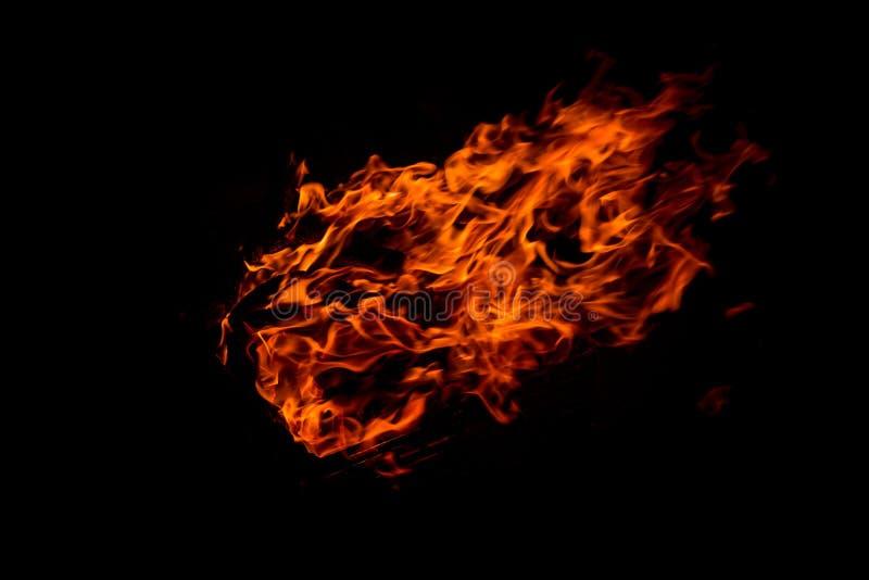 Fiamma del fuoco isolata sul nero fotografia stock libera da diritti