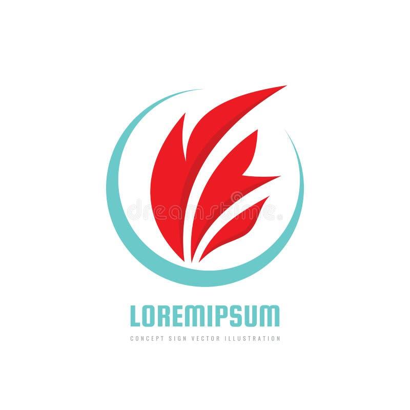 Fiamma del fuoco - vector l'illustrazione di concetto di logo nello stile piano Segno rosso astratto dell'icona di forma Elemento royalty illustrazione gratis