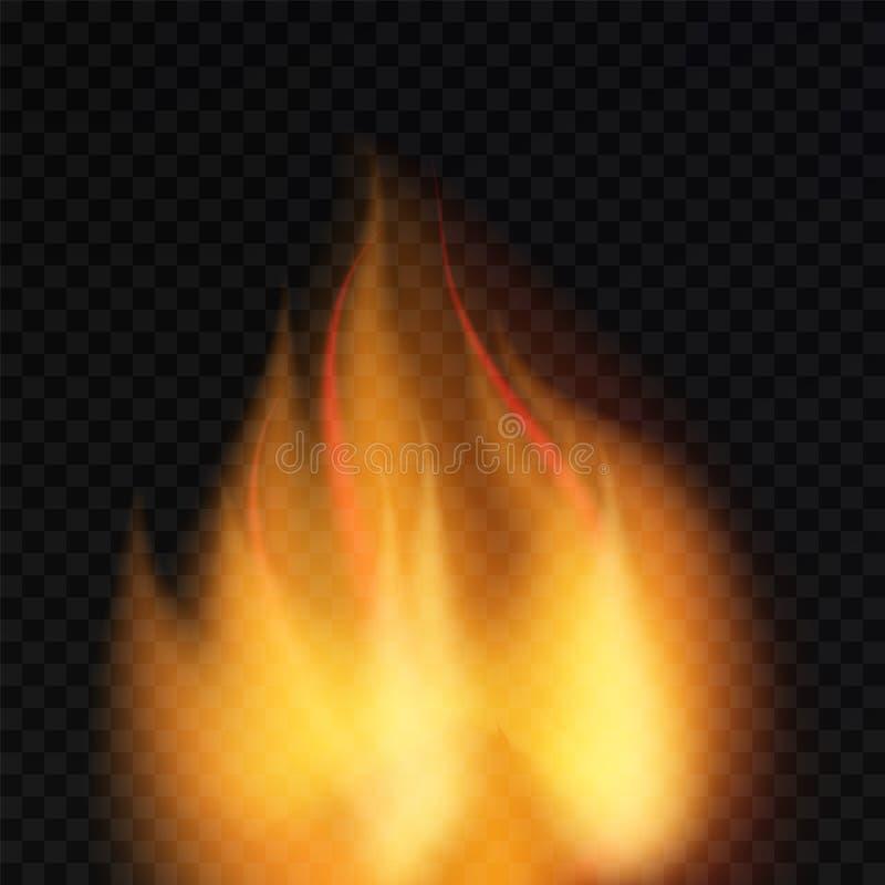 Fiamma dell'ustione del fuoco sul fondo del transparnt bruciarsi royalty illustrazione gratis