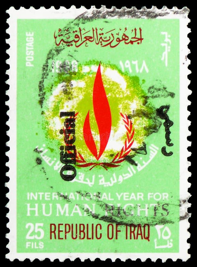 Fiamma di libertà, 20 anni di dichiarazione universale del serie di diritti umani, circa 1972 immagini stock