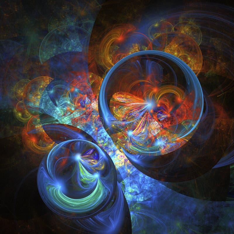 Fiamma e ghiaccio rotto Forme astratte di fantasia su fondo nero immagini stock libere da diritti