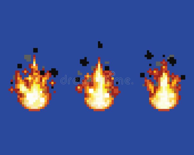Fiamma infuriantesi - l'animazione incornicia l'illustrazione di strato di vettore di arte del pixel del bene del video gioco illustrazione di stock