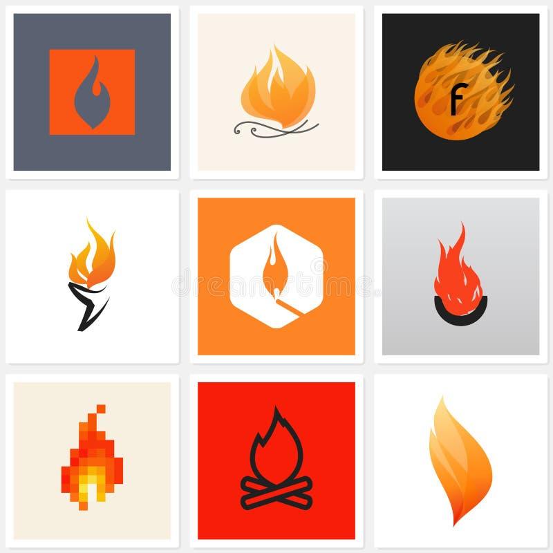 Fiamma. Insieme dei manifesti, elementi di progettazione royalty illustrazione gratis