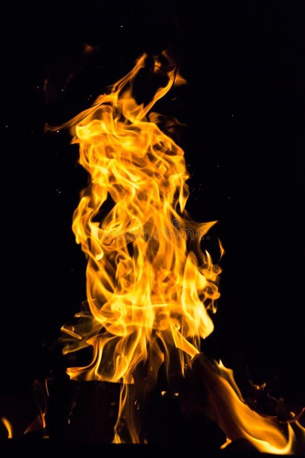 Fiamma luminosa del fuoco di notte fotografia stock