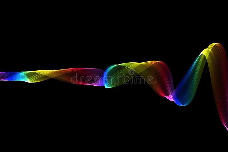 Fiamma ondulata del fumo del raibow variopinto astratto sopra fondo nero immagini stock