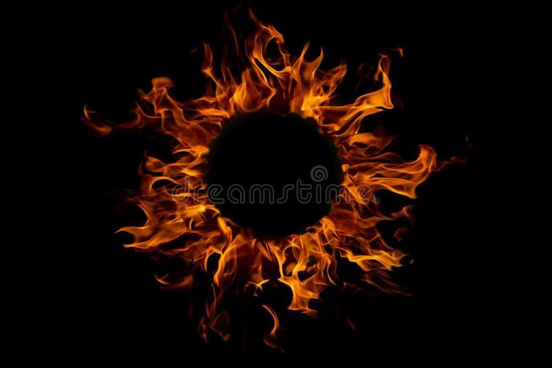 fiamma rotonda del fuoco, isolata immagine stock