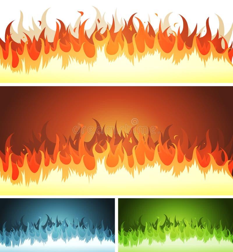 Fiammata, fuoco bruciante e fiamme messi illustrazione vettoriale