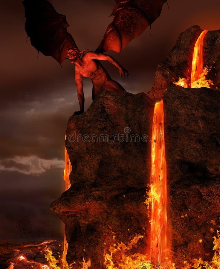 Fiamme del diavolo del demone di inferno illustrazione di stock
