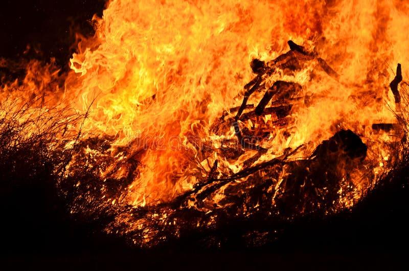 Fiamme del fuoco di urlo del fondo della fiammata di incendio di arbusti alla notte fotografie stock