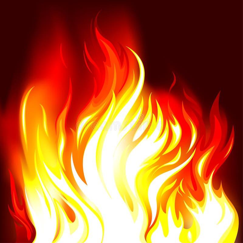Fiamme del fuoco nello scuro illustrazione di stock