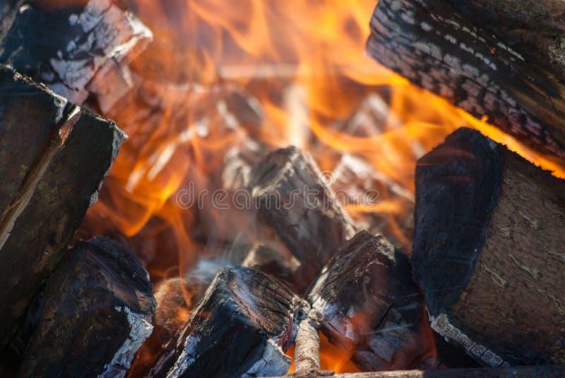 Fiamme di una fine del fuoco di accampamento su fotografie stock libere da diritti