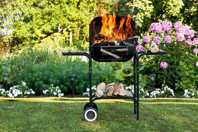 Fiamme in un barbecue fotografia stock