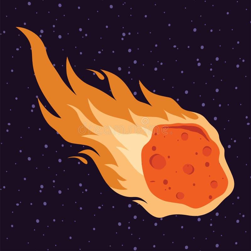 Fiammeggi la meteora, l'asteroide, illustrazione di vettore di caduta della pioggia della meteora nello stile del fumetto illustrazione vettoriale