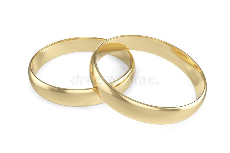 Fiançailles de l'or deux ou anneau de mariage d'isolement sur le fond blanc rendu 3d illustration de vecteur