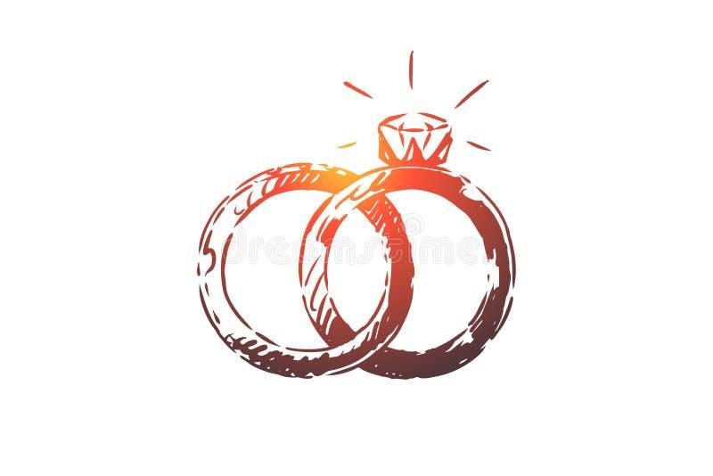 Fiançailles, mariage, anneaux, cadeau, concept de mariage Vecteur d'isolement tiré par la main illustration de vecteur