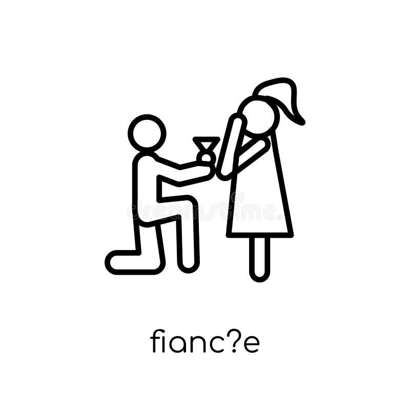 fianc? e ikona Modny nowożytny płaski liniowy wektorowy fianc? e ikona na w ilustracja wektor