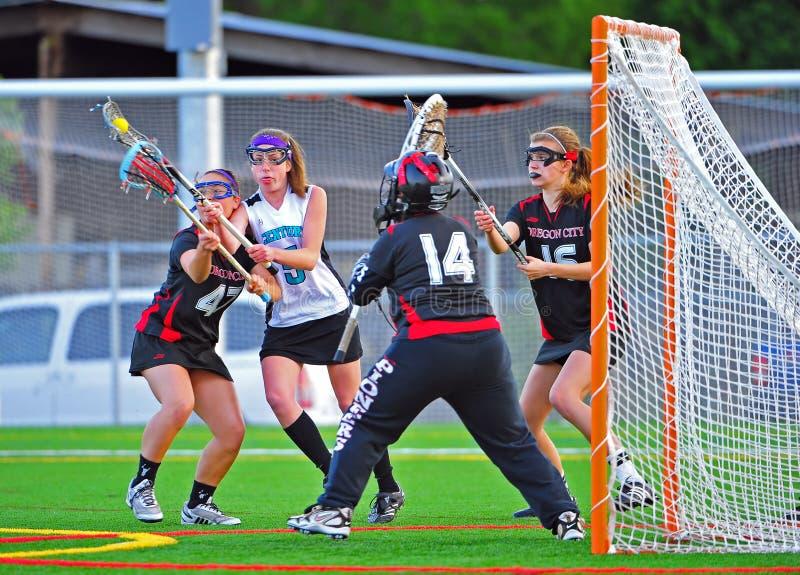 fianls игры девушок lacrosse университетская спортивная команда semi стоковые изображения