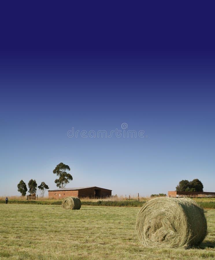 Fianza de la granja y del heno en la pradera foto de archivo